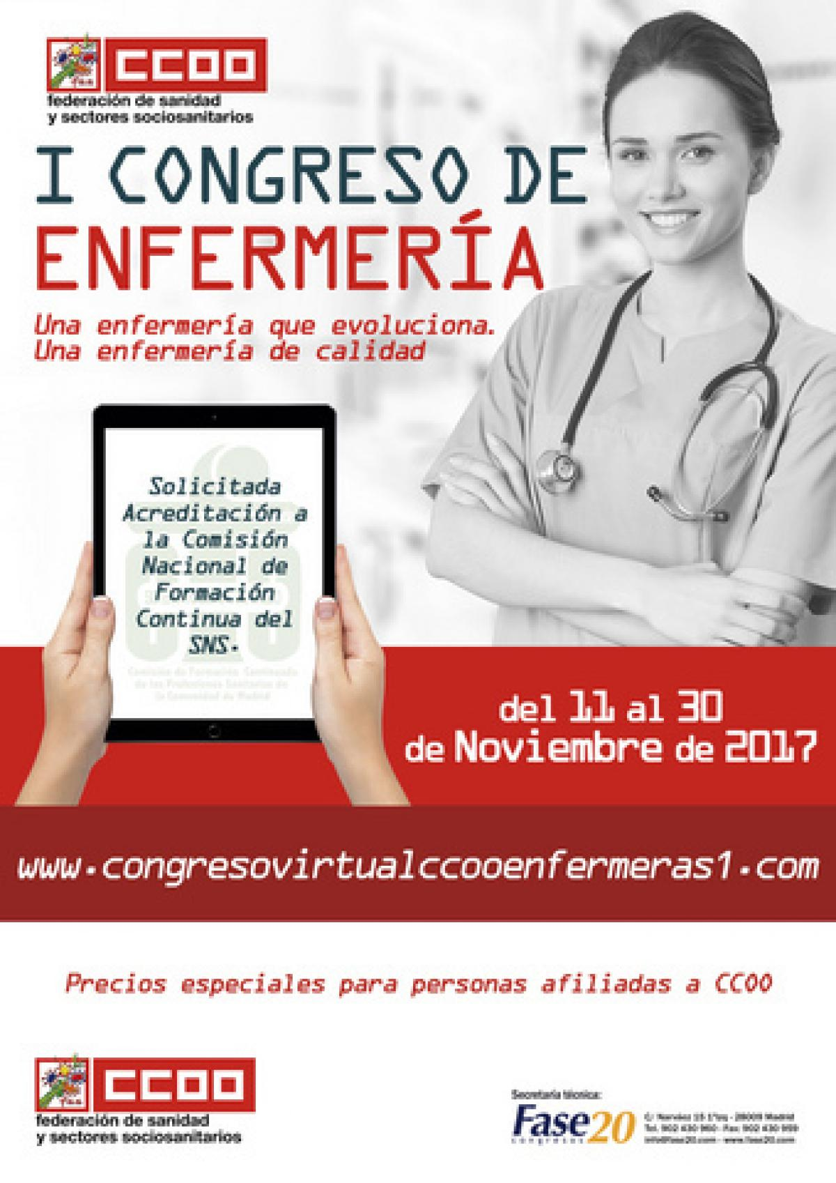 Cartel del I Congreso virtual de Enfermería.