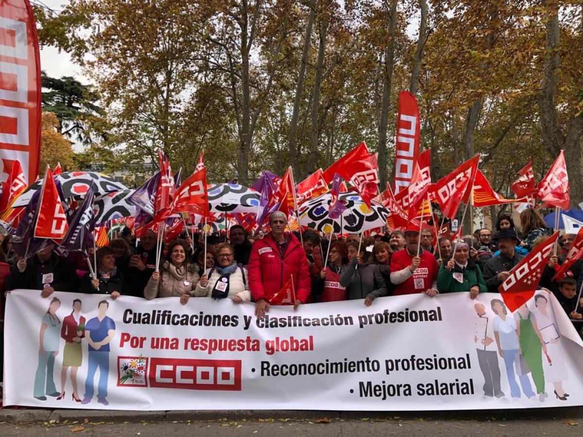 Movilización CCOO. 'Cualificaciones y clasificación profesional. Por una respuesta global'.